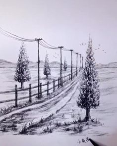 Art Drawings Beautiful, Art Drawings Sketches Simple, Pencil Art Drawings, Easy Nature Drawings, Easy Scenery Drawing, Landscape Drawing Easy, Scenery Drawing Pencil, Tree Pencil Sketch, Road Drawing