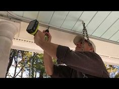"""See videos showing how to install mosquito netting curtains with """"tracking"""" top attachment. Balcony Deck, Mosquito Curtains, See Videos, Track Lighting, Landscaping, Youtube, Cabin Ideas, Pavilion, Decks"""