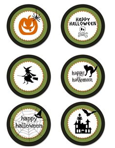 creative juice for. printables {halloween printables} party circles for cupcakes, favors, & more! {to print: click image, r. Theme Halloween, Halloween Trick Or Treat, Halloween Stickers, Halloween Cards, Holidays Halloween, Spooky Halloween, Vintage Halloween, Happy Halloween, Halloween Decorations