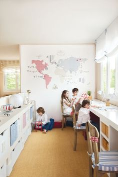 Love the idea of a decorative map on one wall. I could make this with extra fabric or old sheets