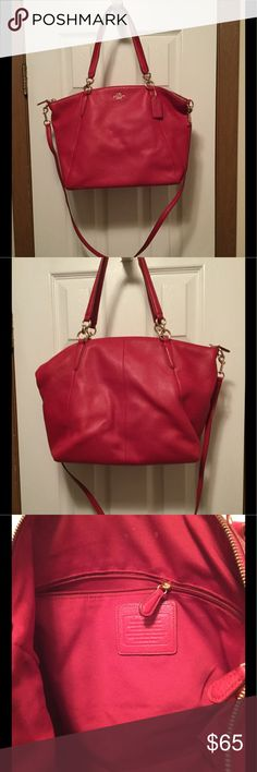 Coach Handbag  Beautiful handbag. Outside is like new. The inside has some dirt marks, but nothing that soap and water won't take off... The price on this is going to be firm. It a berry color. I would rate the outside A+ and the inside A-  hope this helps. The purse is absolutely beautiful  Coach Bags Crossbody Bags