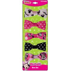 """mm1182-NJ - Minnie Mouse 5 on card 1"""" bows on fabric covered salon clips (June 2015 availability -- Accepting preorders)"""