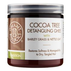 What it is:A thick, creamy, leave-in formula that softens dry, tangled hair and improves combing ease.  What it is formulated to do: Cocoa Tree Detangling Ghee is formulated with pure cocoa butter and nourishing botanicals to smooth cuticles, incre