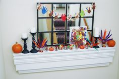 Colorful thanksgiving mantle