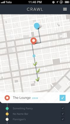Bar crawl app with a nice flat map design. Gui Interface, User Interface Design, Mobile Ui Design, App Ui Design, Apps, App Map, Iphone Ui, App Design Inspiration, Design Ideas