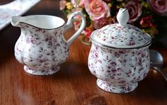 Katie Alice White Ditsy Floral Shabby Chic Fine China Sugar Bowl   Creamer  Jug 38c47311032