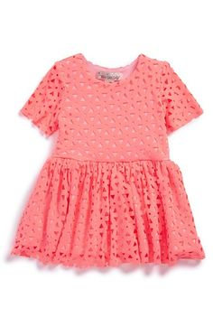 Halabaloo+Laser+Cutout+Short+Sleeve+Dress+(Baby+Girls)+available+at+#Nordstrom