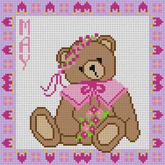 May teddy bear x-stitch