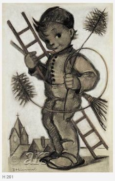 """Sister Maria Innocentia Hummel ~ """"I bring Luck"""" (Ich bringe Gluck!).  Chimneysweeps are good luck in Germany, especially to the person who snatches a piece of broom-straw from him WithOut :) being noticed!  Of course, God is always in the background of 'good luck'!  <3<3<3"""