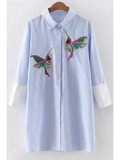 Vestido rayado del pájaro de las lentejuelas bordado - Azul S