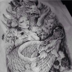Phoenix Geisha Dragon Tattoo Design