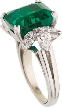 Estate Jewelry:Rings, Colombian Emerald, Diamond, Platinum Ring. ... (Total: 1 Items)