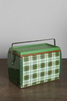 Vintage Plaid Metal Cooler- My grandpa had this one....I wonder what happened to it...