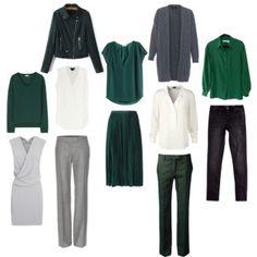 common wardrobe core: hunter green, white & gray