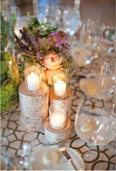 like the white birch cut logs in various sizes for votives.