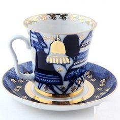 Russian-Imperial-Lomonosov-Porcelain-Mug-and-saucer-Bells-22K-Gold-Rare-Russia