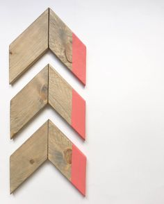 Wood Chevron Arrow Set in Coral by Playalinda Sign Market