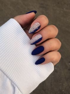 short nails 2020 trends Stylish ideas of blue nail polish on both long and short nails, fashion trends and new items daily and evening nail art in Wedding Acrylic Nails, Cute Acrylic Nails, Gel Nails, Nail Polish, Wedding Nails, Wedding Makeup, Dark Nails, Dark Color Nails, Dark Nail Art