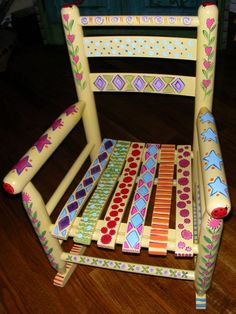 Hand Painted Whimsical Childs Rocking by Clareensquirkycorner Painted Rocking Chairs, Hand Painted Chairs, Whimsical Painted Furniture, Hand Painted Furniture, Funky Furniture, Colorful Furniture, Art Furniture, Painted Tables, Decoupage Furniture