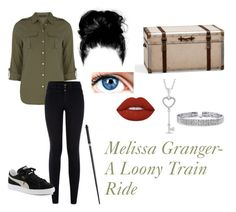 """""""Melissa Grange- A Loony Train Ride"""" by unitedbypotter ❤ liked on Polyvore featuring Dorothy Perkins, New Look, Puma, Pottery Barn, Lime Crime and Bling Jewelry"""