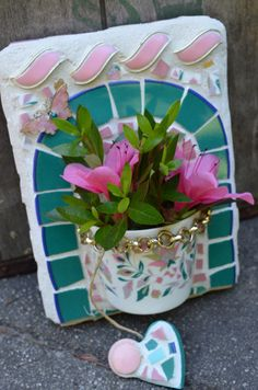 Mosaic Art Half Cup Wall Pocket for Flowers in turquoise and pink with Pink Butterfly and mosaic Heart