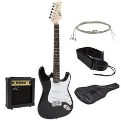 Full Size Black Electric Guitar with Amp Case and Accessories Pack Beginner Starter Package