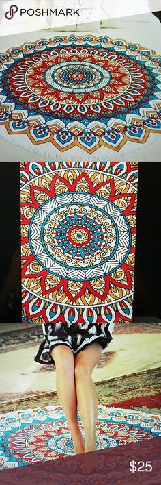 """ROUND BEACH TOWEL. TERRY CLOTH. Printed round beach towel with tassel 59"""".  Great for beach, picmic, wall hanging, table cover, bed accent.  New without tags. Never used. Accessories"""