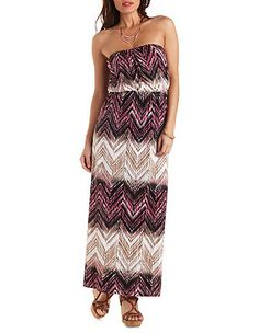 Strapless Chevron Print Maxi Dress: Charlotte Russe