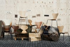 A variety of wooden stacking chairs designed by Arne Jacobsen for Fritz Hansen. Featuring the Series 7, Ant Chair and the Grand Prix Chair.