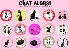 15 images digitales pour scrapbooking 50 mm à imprimer CHAT ALORS : Cabochon par fee-des-images Bottle Cap Images, Bottle Caps, Image Digital, Image Chat, Print Patterns, Decoupage, Miniatures, Clip Art, Printables