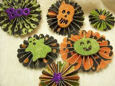 6 Piece Set of Very Chic and Scary Halloween by JudeAlyssaMarkus Scary Halloween, Halloween Themes, Scrapbook Paper, Scrapbooking, Halloween Scrapbook, Rosettes, Pattern Paper, Paper Flowers, Paper Crafts