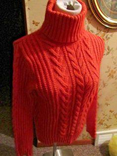 Eddie Bauer Cable Knit Turtleneck Coral Sweater NWT Size M #EddieBauer #TurtleneckMock
