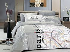 Paris Map Bed Set NEW Paris Themed Bedding  LE297Q by Le Vele Price only $149 for Full/Queen Size!
