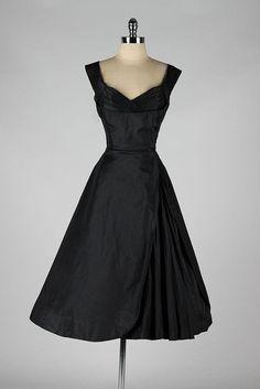 1950's Black Silk Dress by vivian
