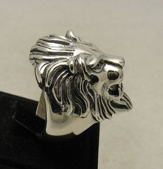R001001 STERLING SILVER Ring Solid 925 Huge Lion by EmpressSilver