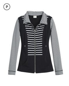 A striped front and sleeves give this cozy jacket a sporty edge and hourglass shape.   Mixable, matchable, cozy-chic Zenergy® live in, lounge in, love.  Mock neck with drawstring.   Full zip.   Kangaroo pockets.    Regular Length: 27.5