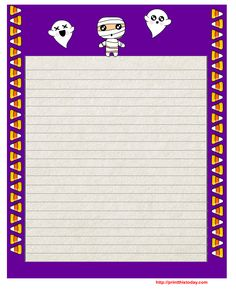 Free Printable Halloween Writing Paper With Purple Border