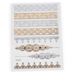 Gold Foil Metal Noble Forest Bracelet Pattern Tattoo Stickers Aus