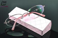 =CLARA VIDA BRAND= Design Semi-Rimless Coated HD Lenses Fashion Pink Women Reading Glasses +1 +1.5 +2 +2.5 +3 +3.5 +4 With Case