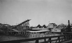 Redondo Beach roller coaster after being destroyed by a storm. Redondo Beach Pier, Santa Monica California, Long Beach, Paris Skyline, Louvre, Roller Coasters, Ocean, Beaches, Travel