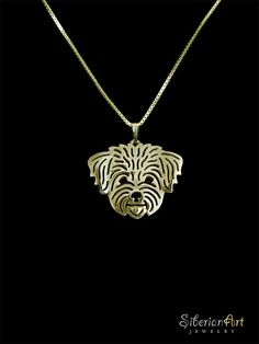 Havanese (in puppy/pet haircut) - gold vermeil (18k gold plated sterling silver) pendant and necklace