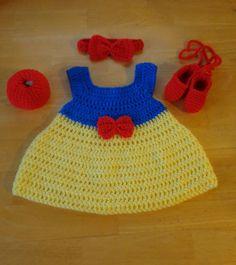 Snow-White-Crochet-Baby-Dress-Headband-Slippers-Apple-Handmade-Photo-Prop