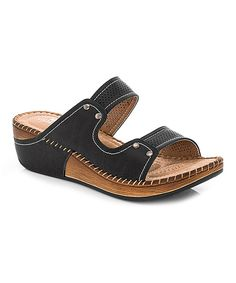This Lady Godiva Black Whipstitched Sandal by Lady Godiva is perfect! #zulilyfinds