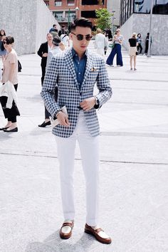 Gingham blazer + navy button down + white pants