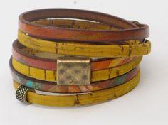 Leather Wrap Bracelet Portuguese Cork Wrap Bracelet by WhirlyWraps