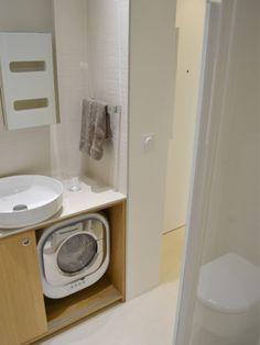 gain de place dans la salle de bain le lave linge. Black Bedroom Furniture Sets. Home Design Ideas