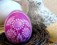 Hand Etched Scratched Egg -  Lithuanian European Ukraine Poland Pysanky Present - Stand or Ornament - Easter