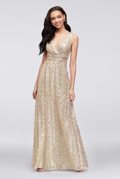 Picturing your bridal party in pretty sequin bridesmaid dresses? Shop David's Bridal sparkly bridesmaid dresses in gold & silver all in short & long styles! Glitter Bridesmaid Dresses, High Neck Bridesmaid Dresses, Sparkly Bridesmaids, Davids Bridal Bridesmaid Dresses, Wedding Dresses, Gold Sequence Bridesmaid Dresses, Wedding Outfits, Bride Dresses, Ball Dresses