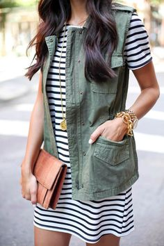 Military vest over striped dress - get the look for under $100! #springstyle