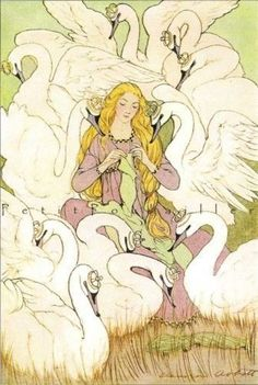 Children of Lyr. The sons where cursed and turned into swans. The daughter could then break the curse by making clothing from nettles. By hand